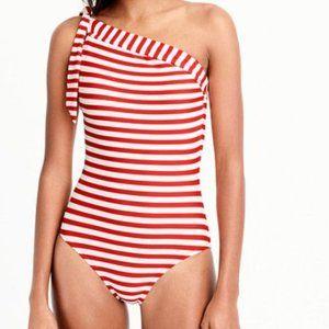 J. Crew Swimsuit NEW! One Shoulder Retro Stripe